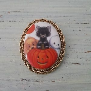 Black Cat Pumpkin Halloween Brooch Cameo